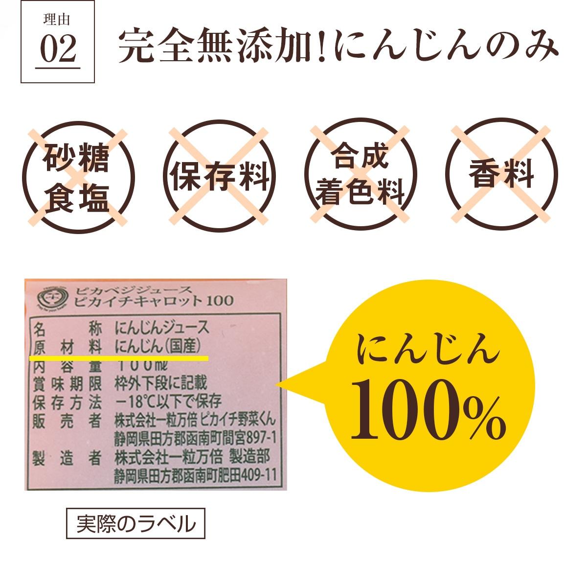 にんじん100%の完全無添加ジュース