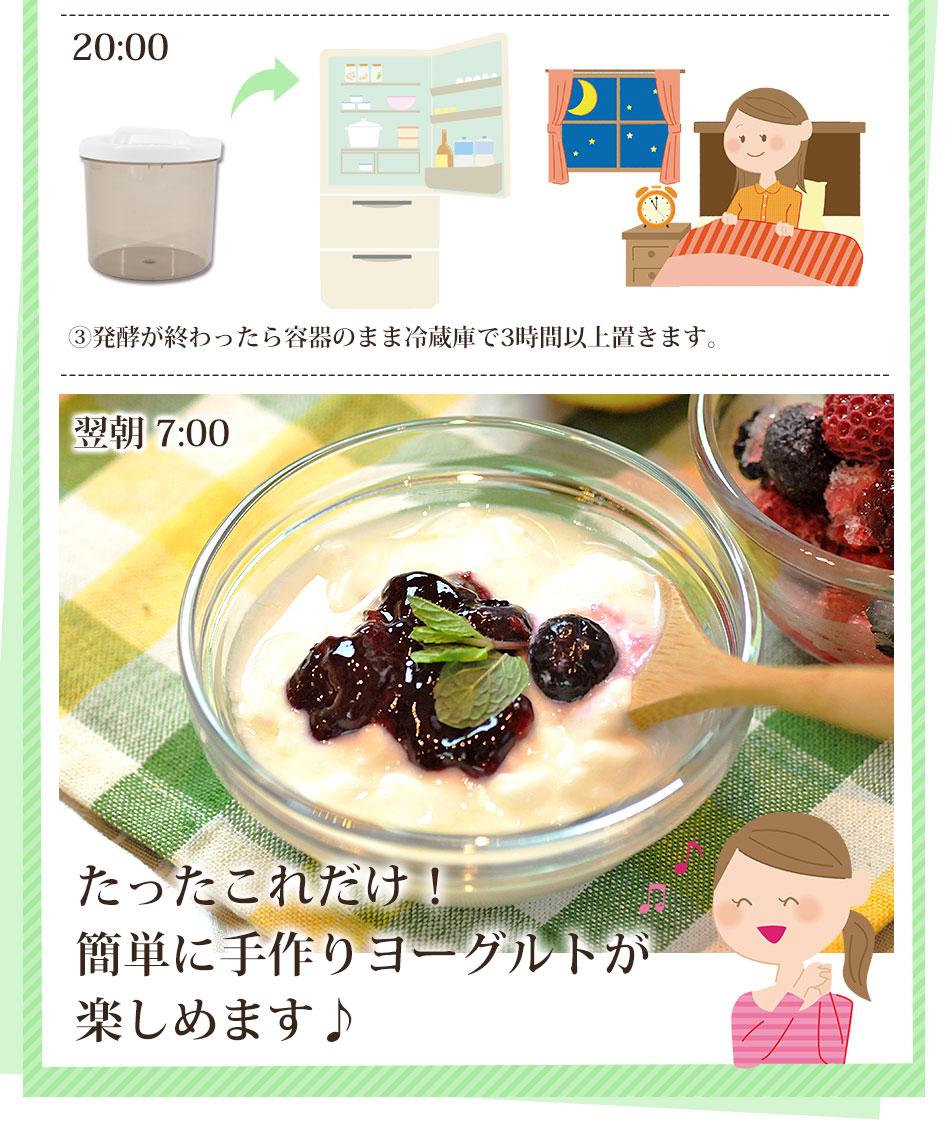 まずは豆乳ヨーグルトの作り方をご紹介♪(手順 �発酵が終わったら容器のまま冷蔵庫で3時間以上おきます。 たったこれだけ!簡単に手作りヨーグルトが楽しめます