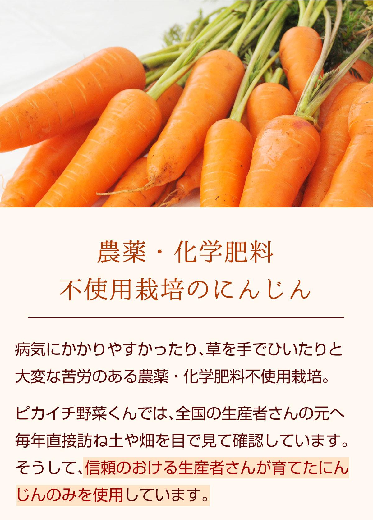 農薬・化学肥料不使用栽培のにんじん