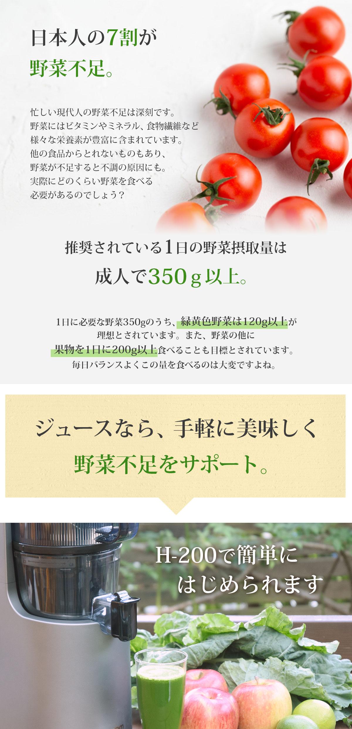 日本人の7割が野菜不足 推奨されている1日の野菜摂取量は成人で350g以上