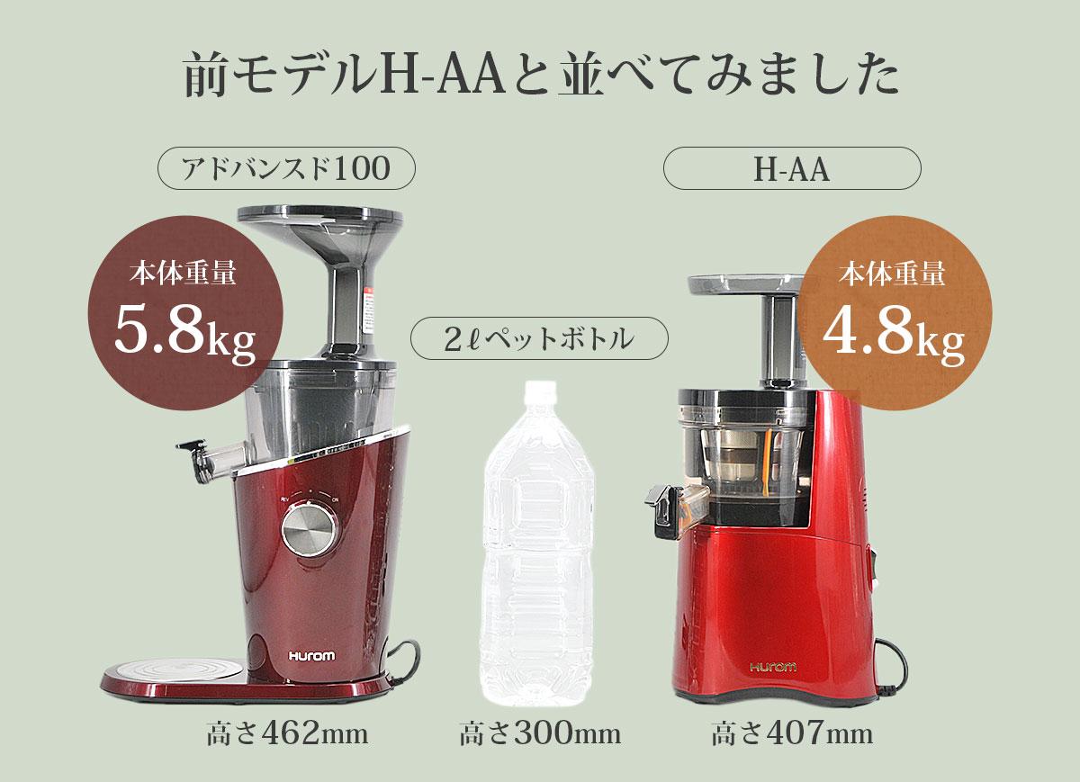 前モデルH-AAと比べてみました アドバンスド100:本体重量 5.8kg・高さ462mm、H-AA:本体重量 4.8kg・高さ 407mm、2Lペットボトル:高さ 300mm