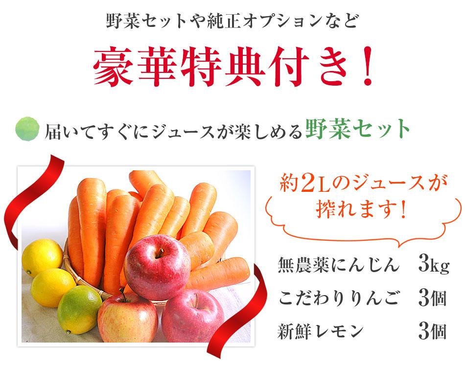 届いてすぐにジュースが楽しめる野菜セット(無農薬にんじん 3kg、こだわりりんご 3個、新鮮レモン 3個)