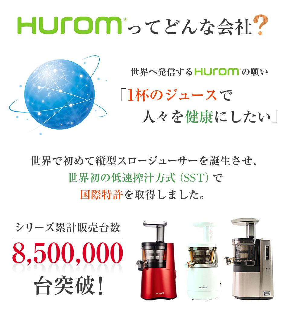 HUROMとは「1杯のジュースで人々を健康にしたい」という願いを世界に発信し、世界で初めて縦型スロージューサーを完成させ、世界初の低速搾汁方式(SST)で国際特許を取得し、シリーズ累計販売台数8,500,000台突破!