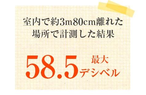 室内で約3m80cm離れた場所で計測した結果「最大58.5デシベル」でした