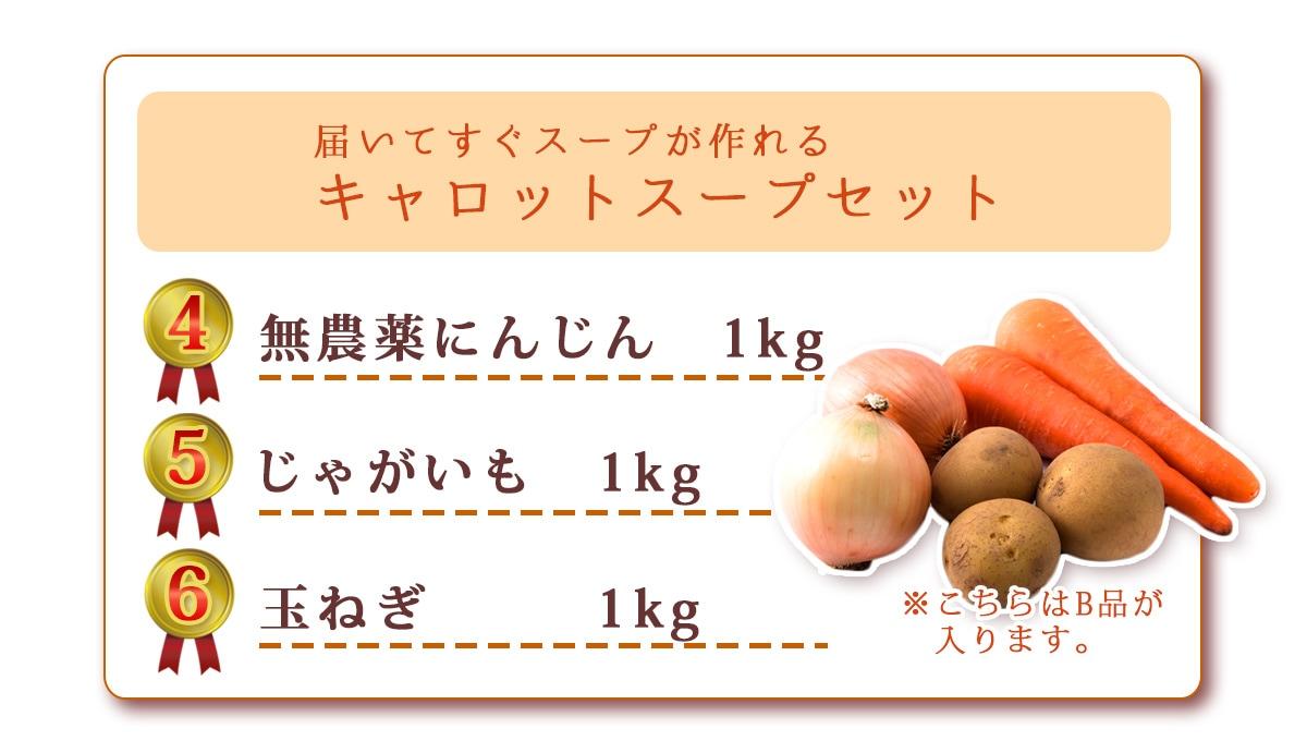 無農薬にんじん1kg、じゃがいも1kg、玉ねぎ1kg