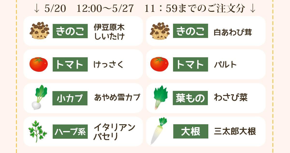 5/20 12:00〜5/27 11:59までのご注文分の品