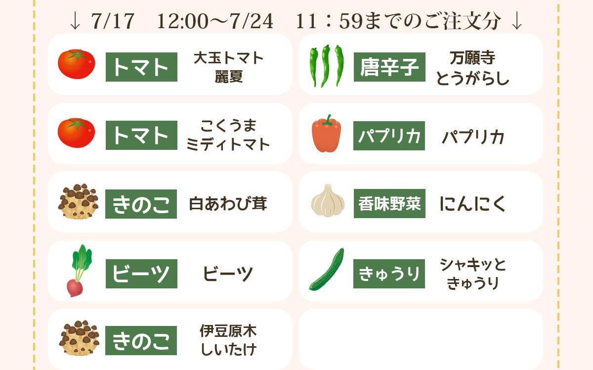 7/17 12:00〜7/25 11:59までのご注文分の品