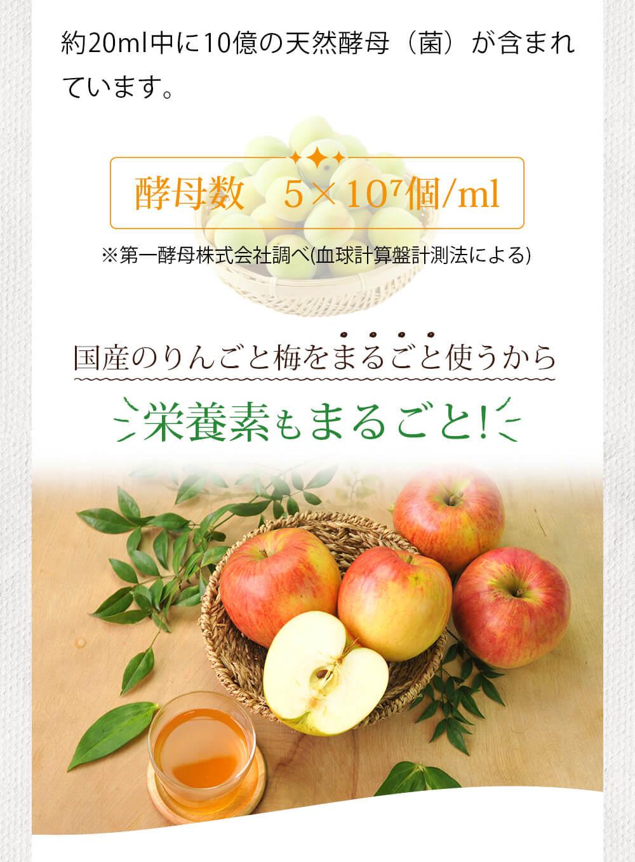 約20mlの中に10億の天然酵母(菌)が含まれています。酵母数(5×10⁷個/ml)※第一酵母株式会社調べ(血球計算盤計測法による) 国産のりんごと梅をまるごと使うから栄養素もまるごと!
