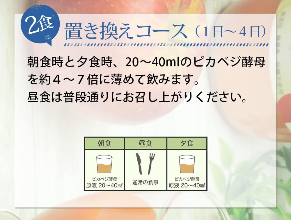 酵母ドリンクでのファスティングのやり方 2食置き換えコース(1日〜4日):朝食時と夕食時、20〜40mlのピカベジ酵母を約4〜7倍に薄めて飲みます。昼食は普段通りにお召し上がりください。
