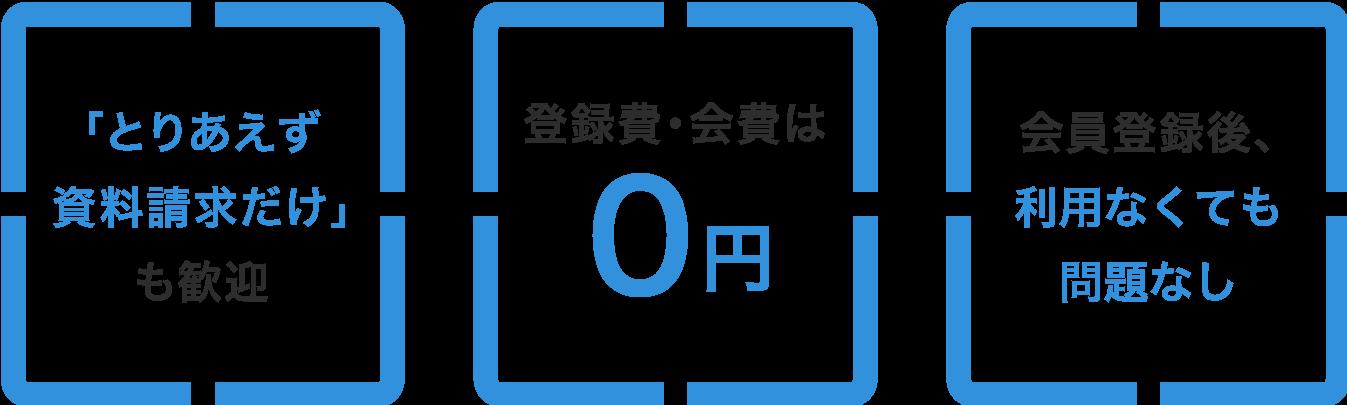 「とりあえず資料請求だけ」も歓迎、登録費・会員は0円、会員登録後、利用しなくても問題なし