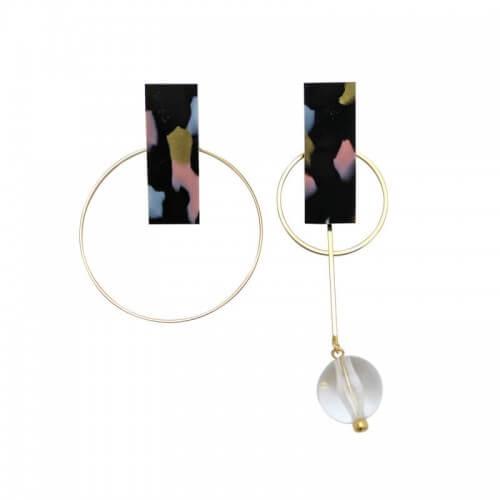 イヤリング / asymmetry hoop / ブラック マーブル [Lights]