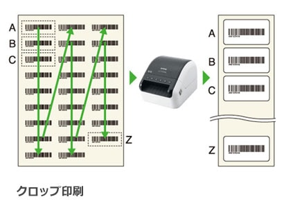 クロップ印刷機能でバーコード自動抽出し独立したラベルを印刷