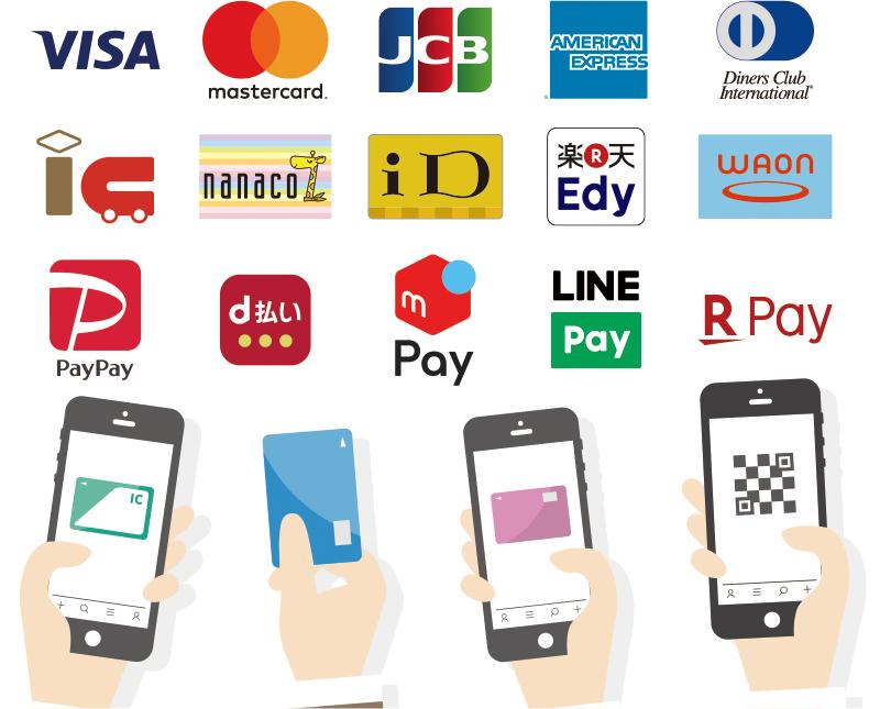 クレジットカード・電子マネー・QRコードの、各主要ブランドに対応
