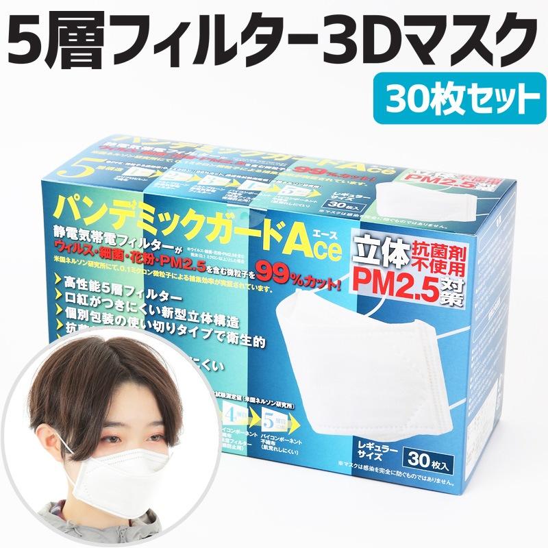 超高性能 5層フィルター 3Dマスク30枚セット