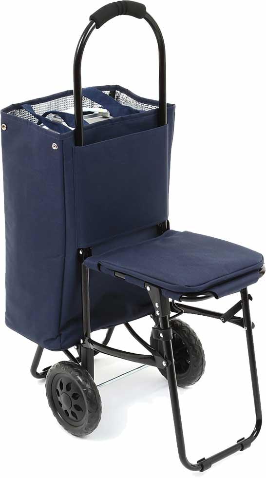 積載耐荷重量22� 大容量(27L)のバッグで災害時のみならず普段使いも便利なイス付き防災キャリーカート