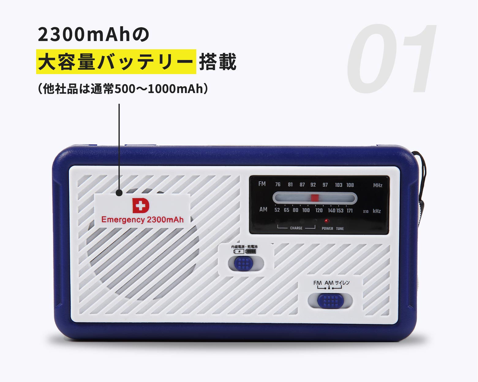 2300mAhの大容量バッテリー搭載(他社品は通常500〜1000mAh)