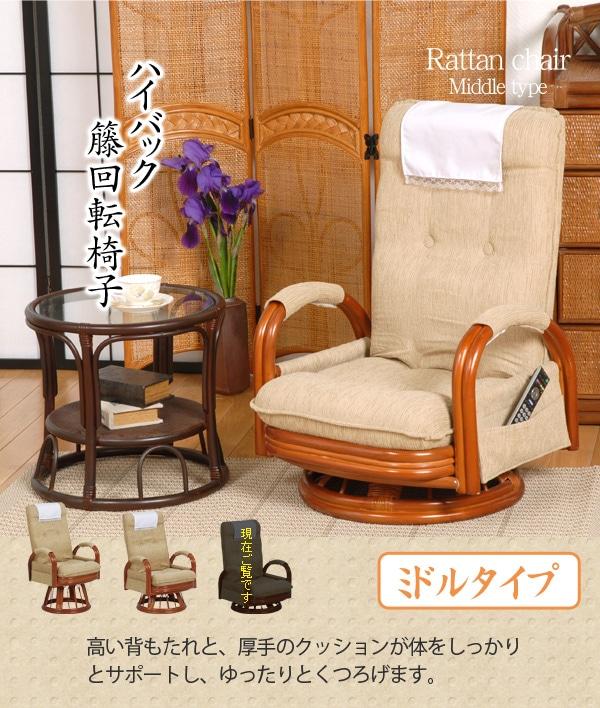 ハイバック籐回転椅子(リクライニング)(ミドルタイプ)