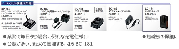 IC-4110オプション(充電器ほか)