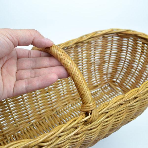 ラタンバスケット横長持ち手付きベトナム製籐