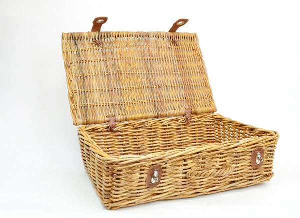 ラタンバスケットトランク高級牛革インドネシア製