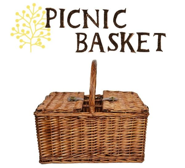 【送料無料】ボトルピクニックバスケット仕切りあり