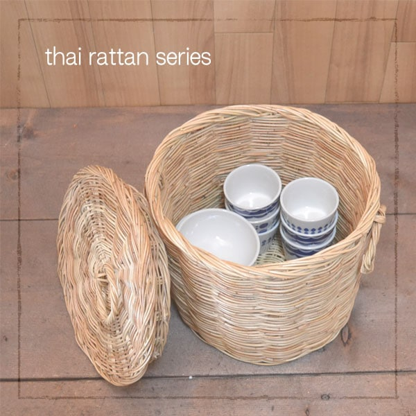 タイ製 ラタン ふた付きサークルバスケット Lサイズ