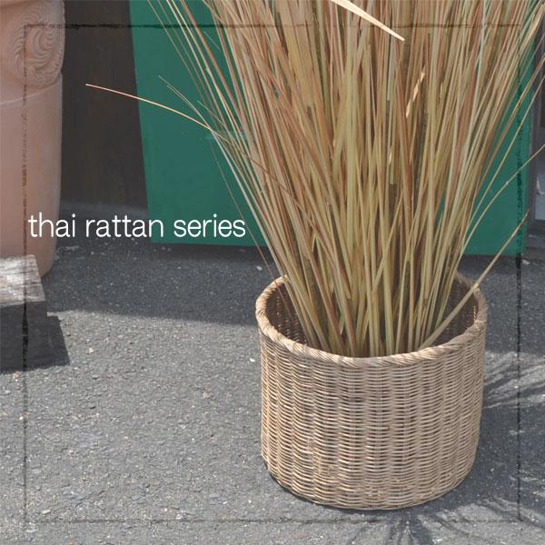 タイ製 ラタン ふち付き筒型バスケット XLサイズ
