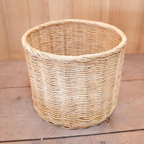 タイ製 ラタン ふち付き筒型バスケット サイズ