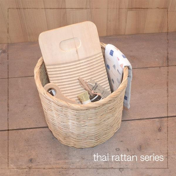 タイ製 ラタン ふち付き筒型バスケット Mサイズ