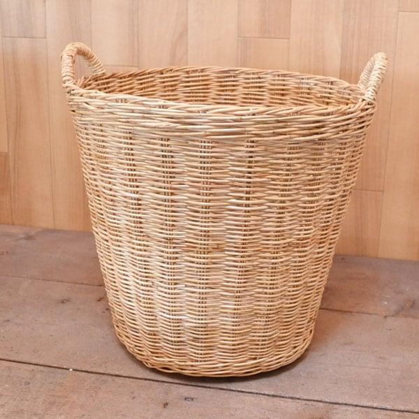 送料無料(北海道・沖縄を除く)タイ製ラタンラウンドバスケットLランドリー