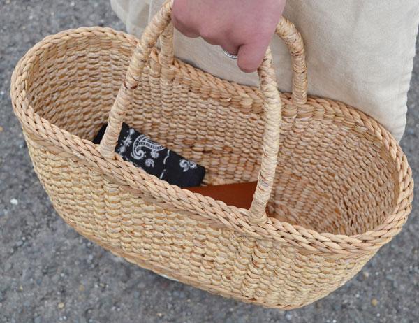 ウォーターヒヤシンス取手付きかごバッグハンドメイド製品
