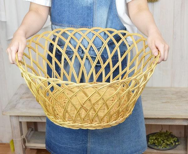 ラタンすかし編みバスケットかごランドリーバスケット