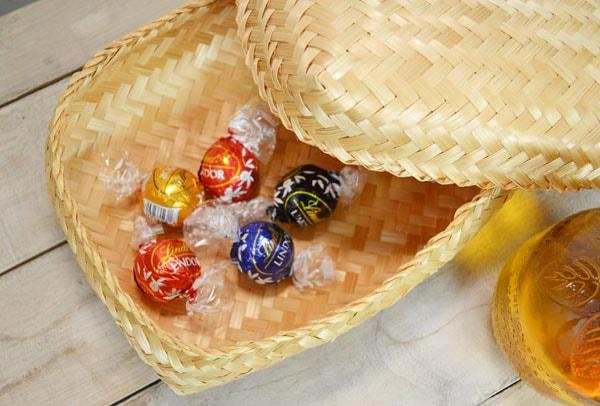 バンブー弁当箱竹かごふた付きナチュラルバスケット