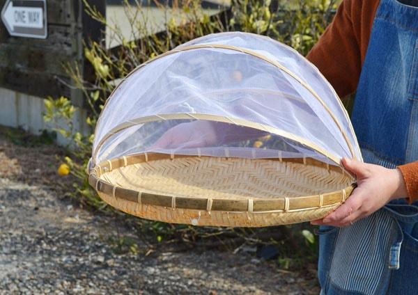 ネット付き竹干しざるLサイズ身竹材料あじろ編み