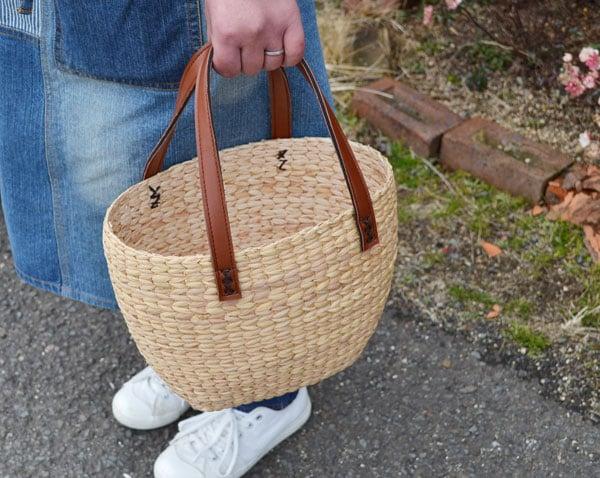 ウォーターヒヤシンスかごバッグたまご型ハンドメイド