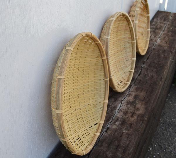 ござ目干しざる浅型Sサイズ皮竹材料竹製