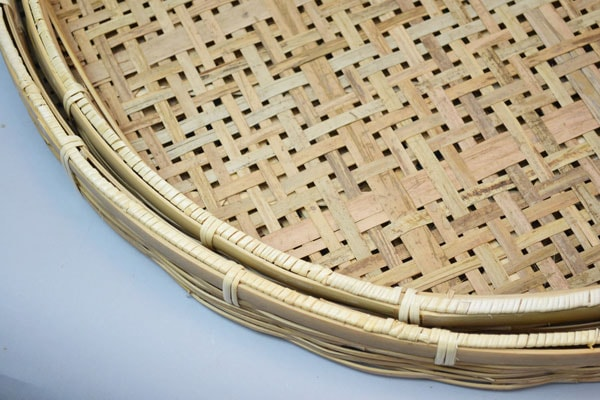 竹干しざる【2セット】皮竹材料四つ目2重底竹製