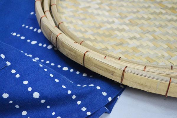あじろ編み竹干しざるLサイズ皮竹材料竹製大きめ