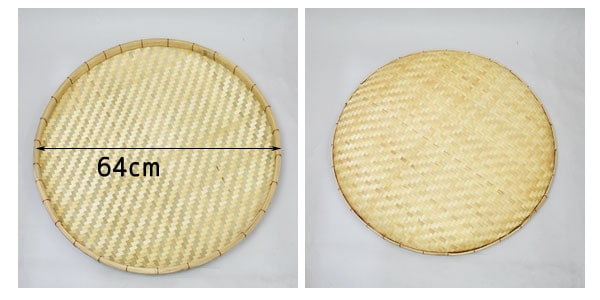 あじろ編み竹干しざるMサイズ皮竹材料竹製大きめ