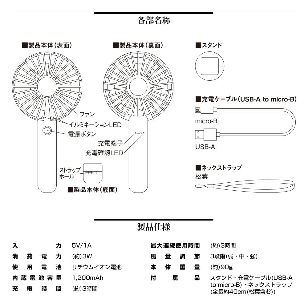 LEDハンディファン 詳細