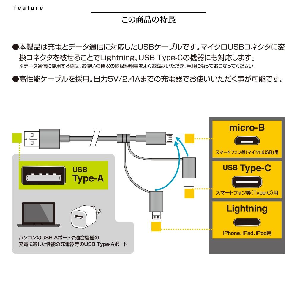 3コネクタ充電・通信ケーブル 詳細
