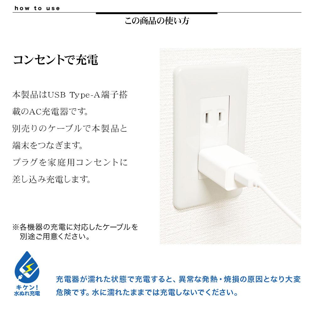 タイプA 1ポート AC充電器 詳細