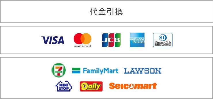 銀行振込 郵便振替 代金引換 visa mastercard jcb amex diners セブンイレブン ファミリーマート ローソン ミニストップ デイリーヤマザキ セイコーマート