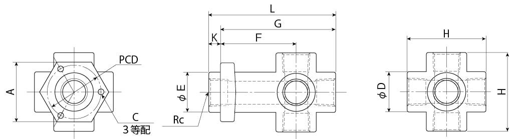 テトラプタッチ寸法図