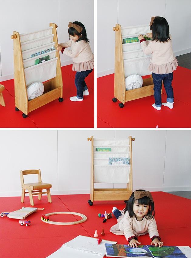 na-ni(なぁに) Picture Book Rack キッズ絵本ラック /絵本ラック/絵本棚/布製/木製/天然木/シンプル/ナチュラル/なぁに/子供家具/キッズ家具/