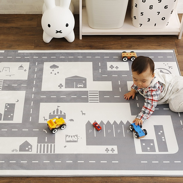 モノトーン道路マット 110×150cm  プレイマット 道路 ラグ マット フロアマット おしゃれ 子供部屋 キッズスペース モノトーン ロードラグ