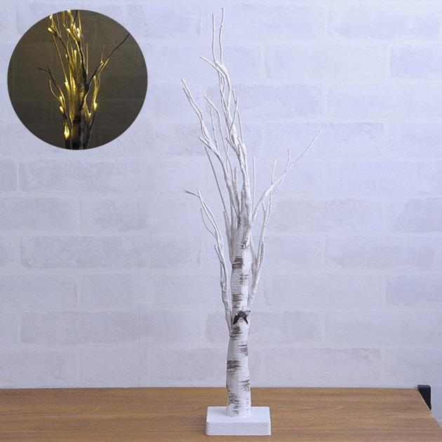 60cm ホワイトブランチライトツリースタンド  リース ナチュラル クリスマス 飾り デコレーション 玄関 天然 リング ツリー おしゃれ