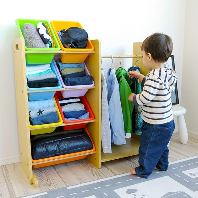 おきがえ大すき (ミニクローゼット)  ハンガーラック 子供 キッズ クローゼット 収納 洋服 おもちゃ 子供部屋 男の子 女の子