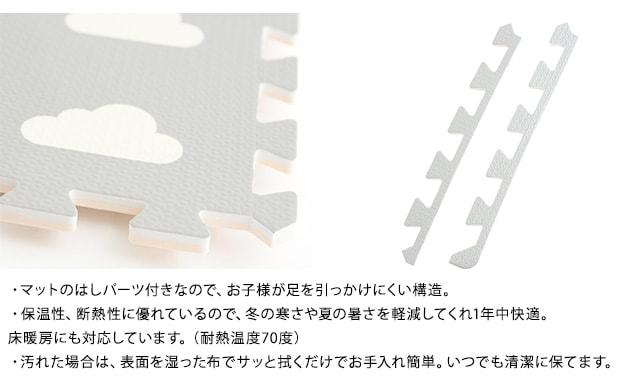 オリジナル ジョイントマット 36枚組 クラウド グレー&アイボリー  フロアーマット 赤ちゃん フロアマット 床 ベビー 防音 保育園 サイドパーツ付 おしゃれ 北欧