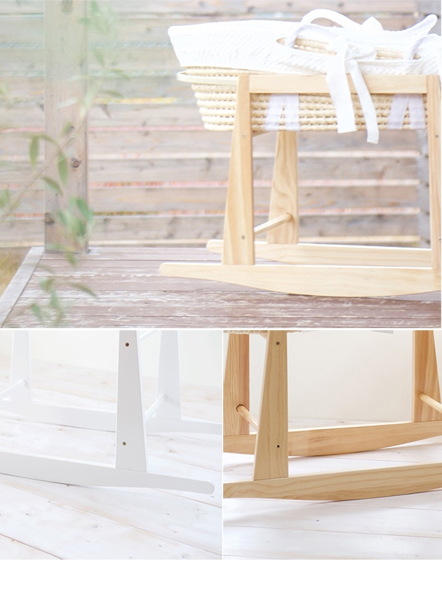 puppapupo プッパプーポ 木製クーファンスタンド  クーハン ゆりかご 籠 木製 ロッキング ナチュラル かわいい 組み立て式